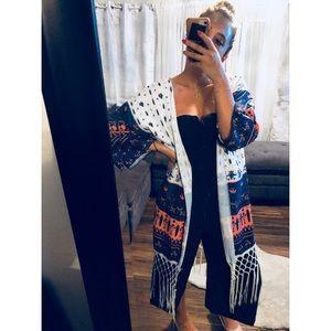 Sweaters - Tribal pattern kimono